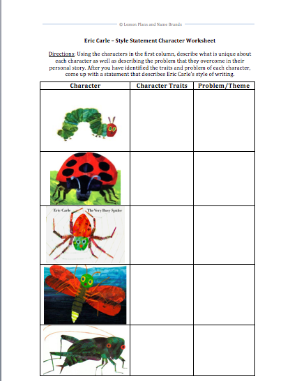 Eric carle style statement lesson plans and name brands